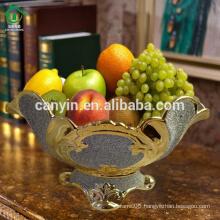 Hollow gold sprayed Cheap antique pedestal mesh Ceramic Fruit Bowl