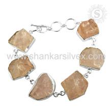 Impresionante Rose Cuarzo Gemstone pulsera 925 joyería de plata esterlina Jaipur hecho a mano joyería en línea