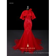 Meerjungfrau formale Abendkleid bodenlange echte Probe Abendkleid mit abnehmbarem Tippet