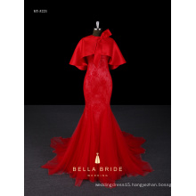 Mermaid formal evening dress floor-length real sample evening dress with removeable tippet