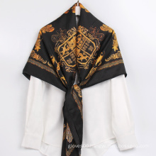 Newest Top Quality Ladies Premium Printed Scarf Paisley Square Polyester Silk Black Scarf