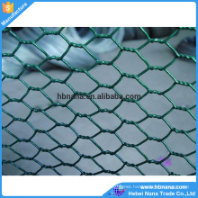 Green PVC coated hexagonal wire mesh common chicken wire use / Electro galvanized poultry wire fence