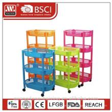 Articles en plastique de salle de bain en plastique stockage/3 couche plastique rack/ménage