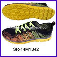 SR-14MY042 hecho punto los zapatos de los deportes knit los zapatos superiores calzan los zapatos de los deportes de la tela del knit