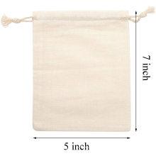 Eco friendly muslin cotton drawstring bag with custom logo printed large