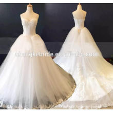 2016 Latest Design White Lace Appliqued Wedding Dress Strapless Alibaba Bridal Dress