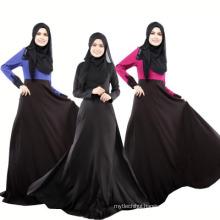 soft quality polyesterdubai women dress black long sleeve lace abaya islamic clothing