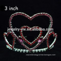 fashion metal silver plated crystal heart shape tiara and crown headband