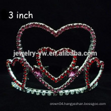fashion metal silver plated crystal heart shape tiara and crown headband