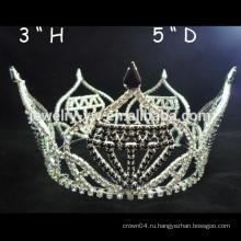 Мода металлический посеребренный кристалл полный круглый принцесса корону