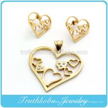 Corte láser de alta calidad en forma de corazón de acero inoxidable pendiente y colgante conjunto de joyas de cristal para baño de oro