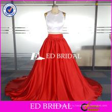 ЭД пользовательские невесты из двух частей рукавов Холтер Длина пола атласная вечернее платье