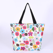 Custom Wholesale Polyester Lady Floral Fashion Promotional Shopping Tote Foldable Bag