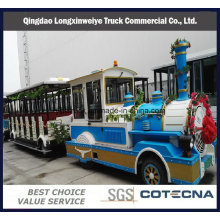 Maravilloso aire libre Locomotora y autocares turístico Diesel tren sin rieles