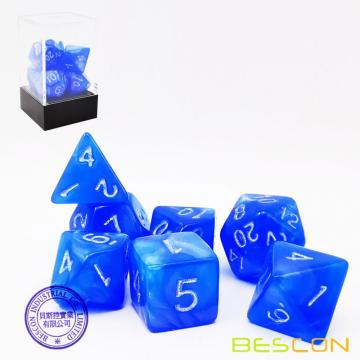Bescon Moonstone Würfel Set Dodgerblue, Bescon Polyhedral RPG Würfel Set Moonstone Effect