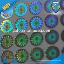 Aderência forte Impressão permanente de impressão holográfica de etiquetas PET