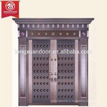 Porte de bronze d'extérieur de luxe personnalisée, porte à double battante en cuivre