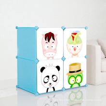 4 Doors Cartoon Plastic DIY Storage Cabinets for Children (ZH001-6)