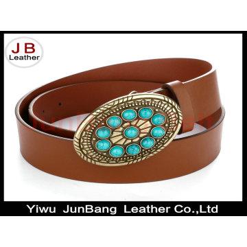 PU Leather Alloy Buckle Crystal Rhinestone Women Belt