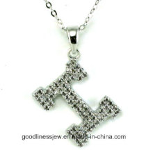 High Quality H Letters Necklace Made with AAA Zircon Rhodium Plated Romantic Pendants Necklaces for Women N6612