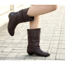 Flache Ferse Frauen Stiefel Lederstiefel