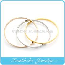 china high quality Stainless steel triple color love cuff fashion bracelet Bangles machine cut bangle OEM