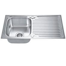 European style single bowl top mount kitchen sink 304 stainless steel inset sink