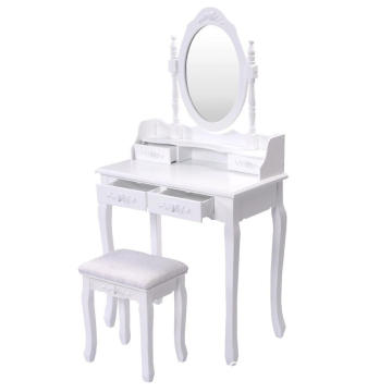 Vanity 4 Drawers Wood Makeup Dressing Table bedroom furniture dresser