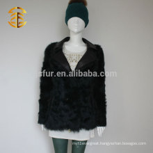 Hot Fashion Classic Dark Green Real Sheep Fur with Leather Collar Stylish Lamb Fur Jacket for Women