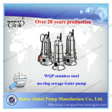 WQP stainless steel 304 sewage non clog submersible water pump