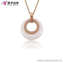 Mujeres de moda Rose Gold-Plated Imitación CZ Jewelry Ceramic Necklace o Chain --42892