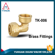 """1/2""""NPT union double two way folw brass fittings connector female thread elbow forged brass nature color in TMOK low price"""