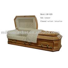 Oak veneer casket adult no cremation casket