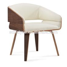 Очень удобная подушка белый кожаный элегантный отель стул,обеденный стул с 4 хромированные ноги HY3010-2