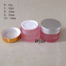 Wholesale 50ml Frosted Pink Glass Cosmetic Jars Glass Cream Jars 2oz