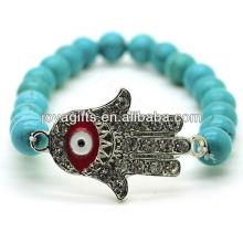 Turquoise 8MM Perles rondes Stretch Gemstone Bracelet avec Diamante Evil oeil au milieu