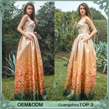 Guangzhou Frock Moden gedruckt Hochzeitskleid für Patin Hochzeit Gast Kleider heißen Verkauf in Großbritannien