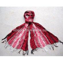 Fashion women 100 viscose stripe crinkle scarf