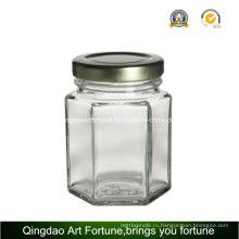 Шестигранная стеклянная бутылочная емкость для держателя для свечи и декора для хранения