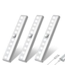 10LED USB rechargeable sous la lumière du capteur de mouvement du cabinet