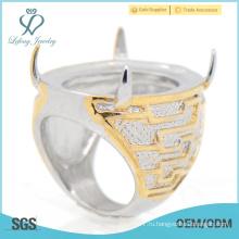Стильные кольца из желтого золота баду с кольцами из нержавеющей стали для мужчин оптом