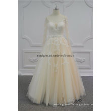 Long Sleeve Champagne Princess Lace Wedding Dress
