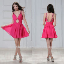 Chic V Neck A Line Ruched Lock hole Mini Graduation Dress Party Gown