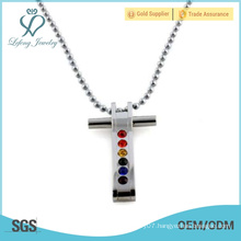 Rainbow silver cross lovers pendant,stainless steel pendants for gay and lesbian