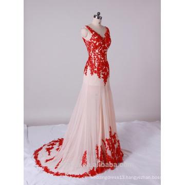 2017 popular elegant red lace V-neck evening dress