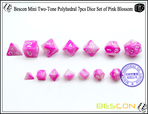 Bescon Mini Two-Tone Polyhedral 7pcs Dice Set of Pink Blossom-3