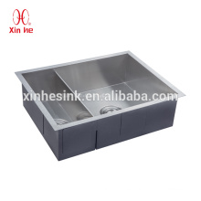 US American cUPC Stainless Steel undermount 25*19 inch double bowl square corner apartment size kitchen sink