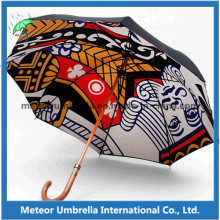 Allover Themal Printing Digital Printing Colorful Printing Automatic Wooden Umbrella