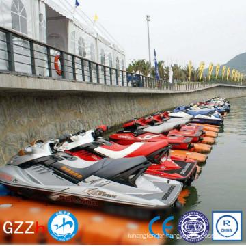 low maintenance floating jet ski dock in lake