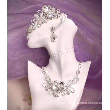 Zinc Alloy Jewelry Rhinestone Silver Color Plated Bridal Jewelry Set